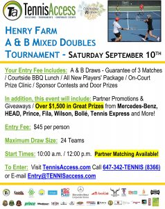 Henry Farm Mixed Doubles Tournament - 2016-09-10